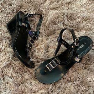 BCBGeneration Black Patent Leather Sandal Wedges